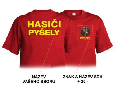 Hasičské triko červené se žlutým potiskem