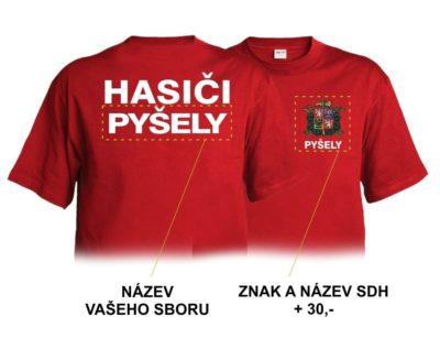 Hasičské triko červené s bílým potiskem